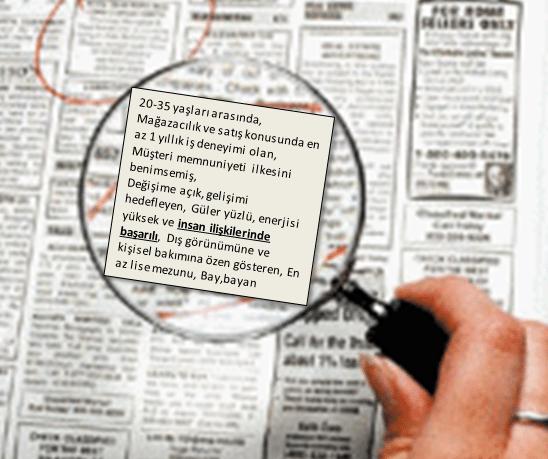 mağazacılık ve satış gazete iş ilanı